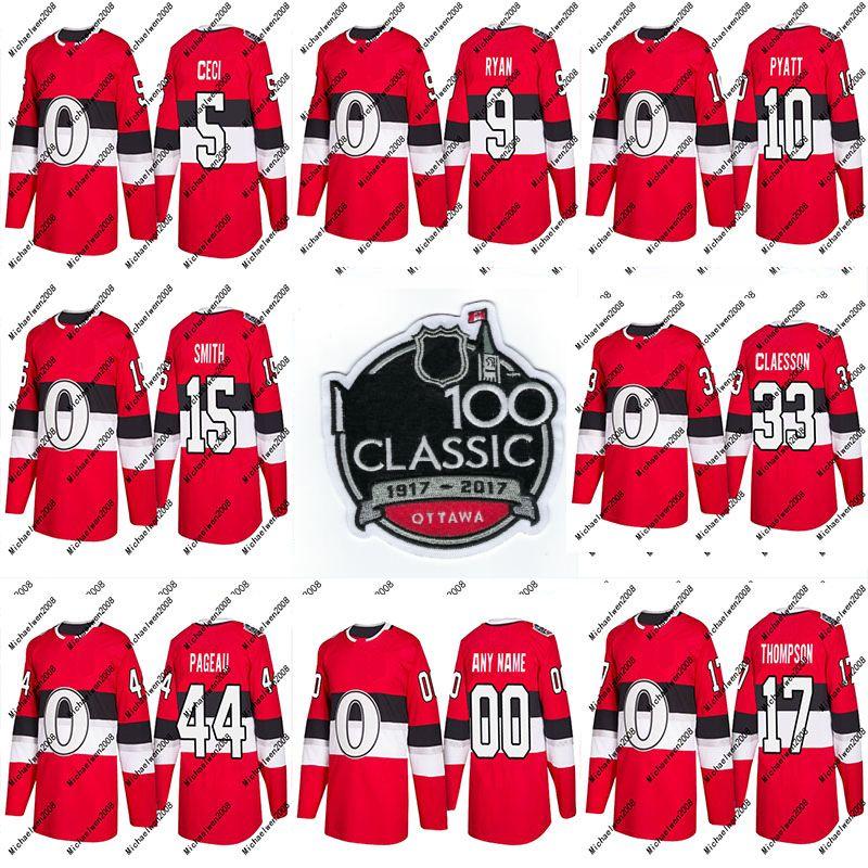 19 Derick Brassard Trikot 2018 Saison 100. Klassische 95 Matt Duchene 40 Gabriel Dumont 78 Filip Chlapik Ottawa Senatoren Benutzerdefinierte Hockey Trikots