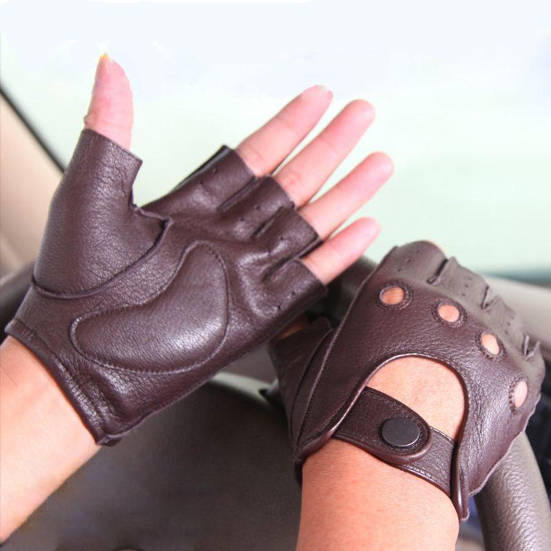 حار بيع جلد جديد قفازات الربيع والصيف الرجال لتعليم قيادة السيارات عدم الانزلاق نصف اصبع قفازات تقليد جلد الأيل M044W-5