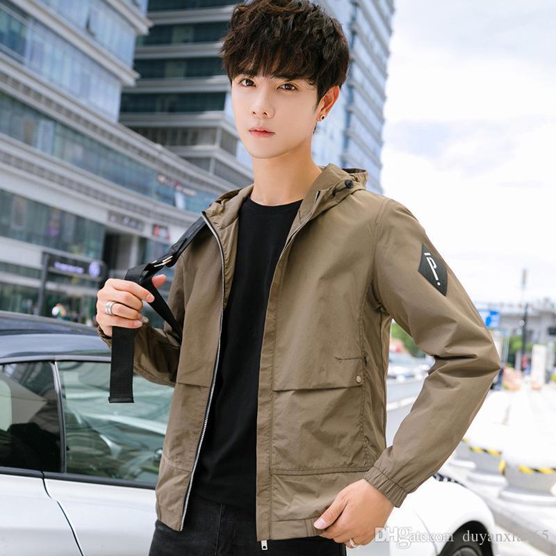 homens jaqueta de 2019 homens de primavera e outono jaqueta casual fashion maré juventude coreano vestuário mens marca jaqueta