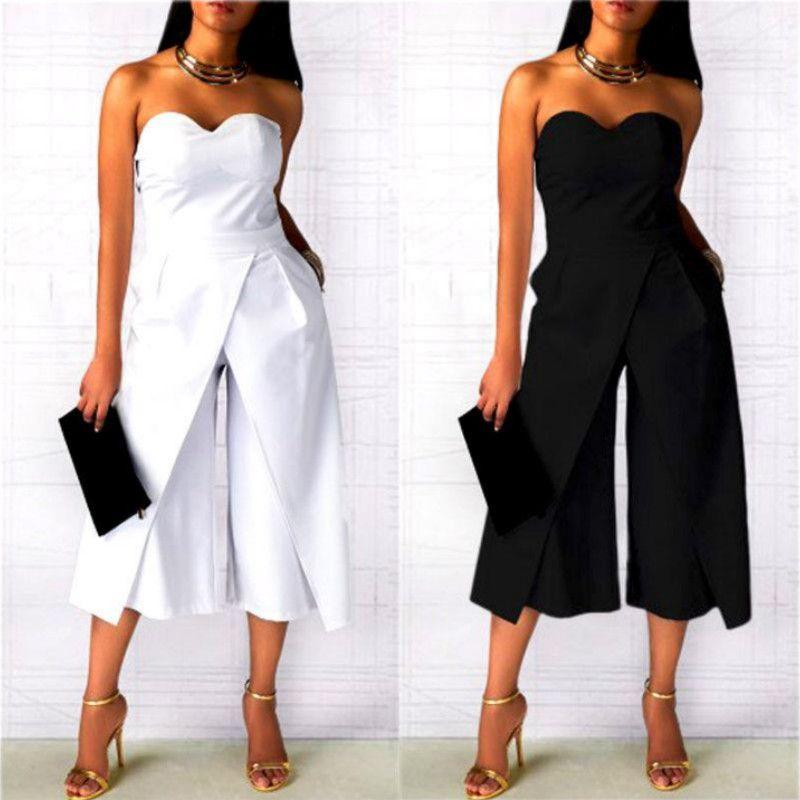 Yeni Moda Kadınlar Bayanlar Clubwear Straplez Tulum Bodycon Parti Tulum Romper Şık Bayan Gevşek Uzun Tulumlar