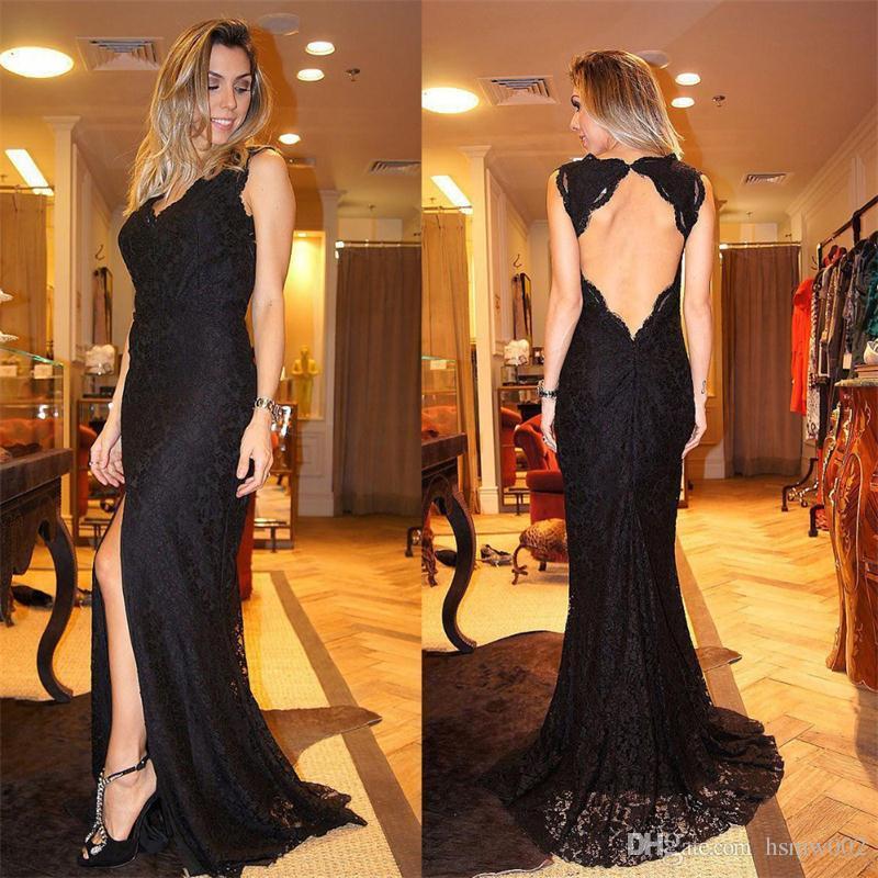 Sexy High Slit Apliques de encaje negro Sirena Vestidos de noche Sexy Escote en v con espalda abierta Madre Vestido de noche largo para fiesta Vestido de noche