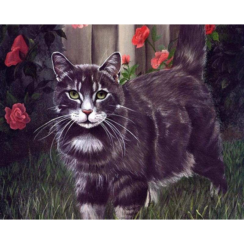 Picture Frameless Black Animals Cat Fai da te Pittura By Numbers Modern Canvas Painting Unico regalo sul muro per Living Room Decor
