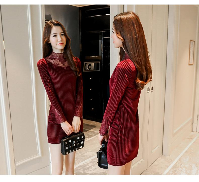 9b4cc0c74d A generation of hair dress female 2018 winter take the Korean version of  the gold velvet was thin lace skirt