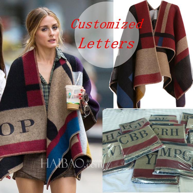 Mujeres de la marca Poncho bufanda de lana de cachemira Poncho con monograma Cape Plaid Winter Check Blanket Poncho bufanda manta 2018 Y18102010
