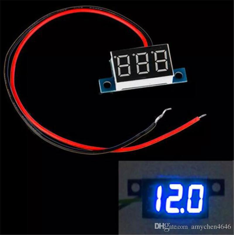Digital Voltmeter Panel Mini 2 Wires DC 3-30V LED Panel Digital Display Voltage Meter Voltmeter Yellow Green Red Blue Light Voltimetro