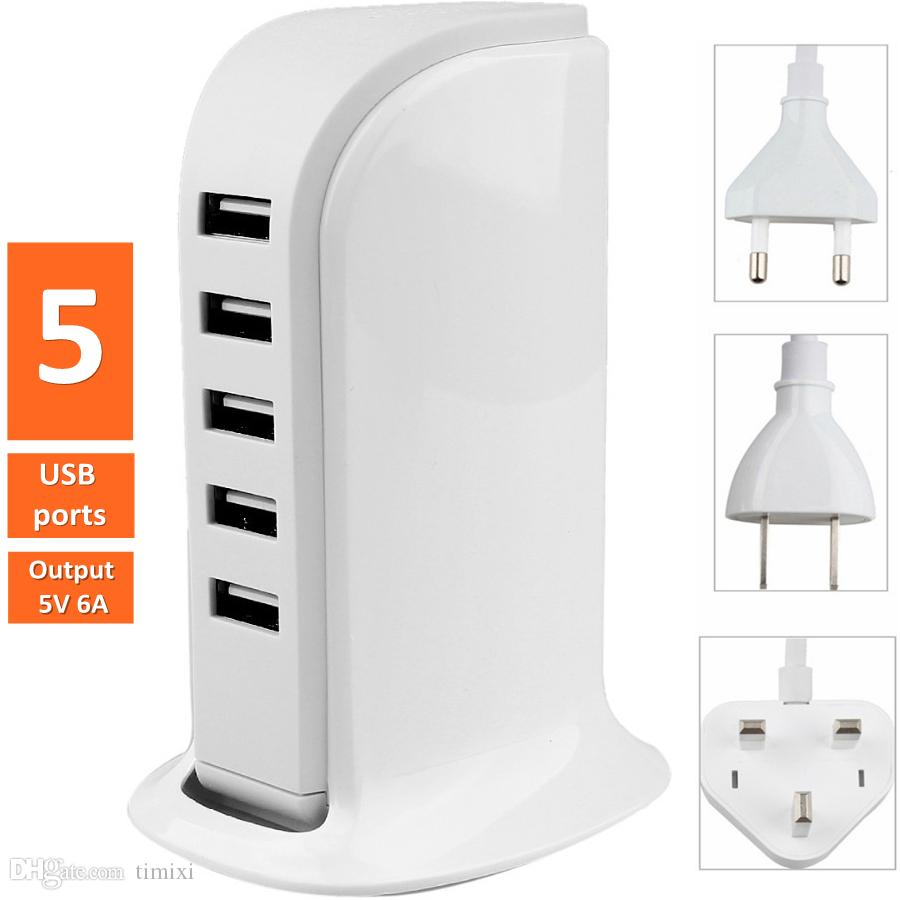 30W 6A 5-Port USB Wall Charger Desktop Charging Station Hub Power Adapter US UK EU Plug Multiport USB Charger Dock For iPhone Samsung