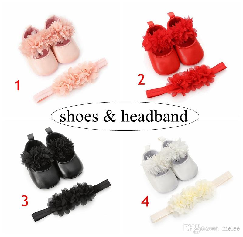 girls flower walking shoes with infant flowers headband kids pu leather first walkers shoes 0-2years 4colors choose freely