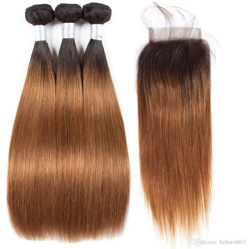 Cheveux Vierges Péruviens Pré-Colorés Cheveux 1B 30 Ombre Sombre 3 Bundles Avec Fermeture Tissage Péruvien de Cheveux Humains Raides Non Remy Aucun Enchevêtrement