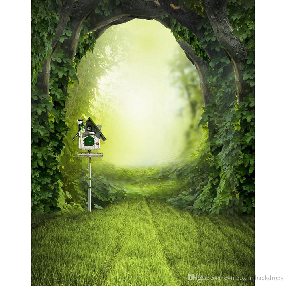 Forest Arched Entrance Spring Photography Backdrop Printed Green Lawn Maildrop Kids Children Fairyland Photo Backgrounds for Studio