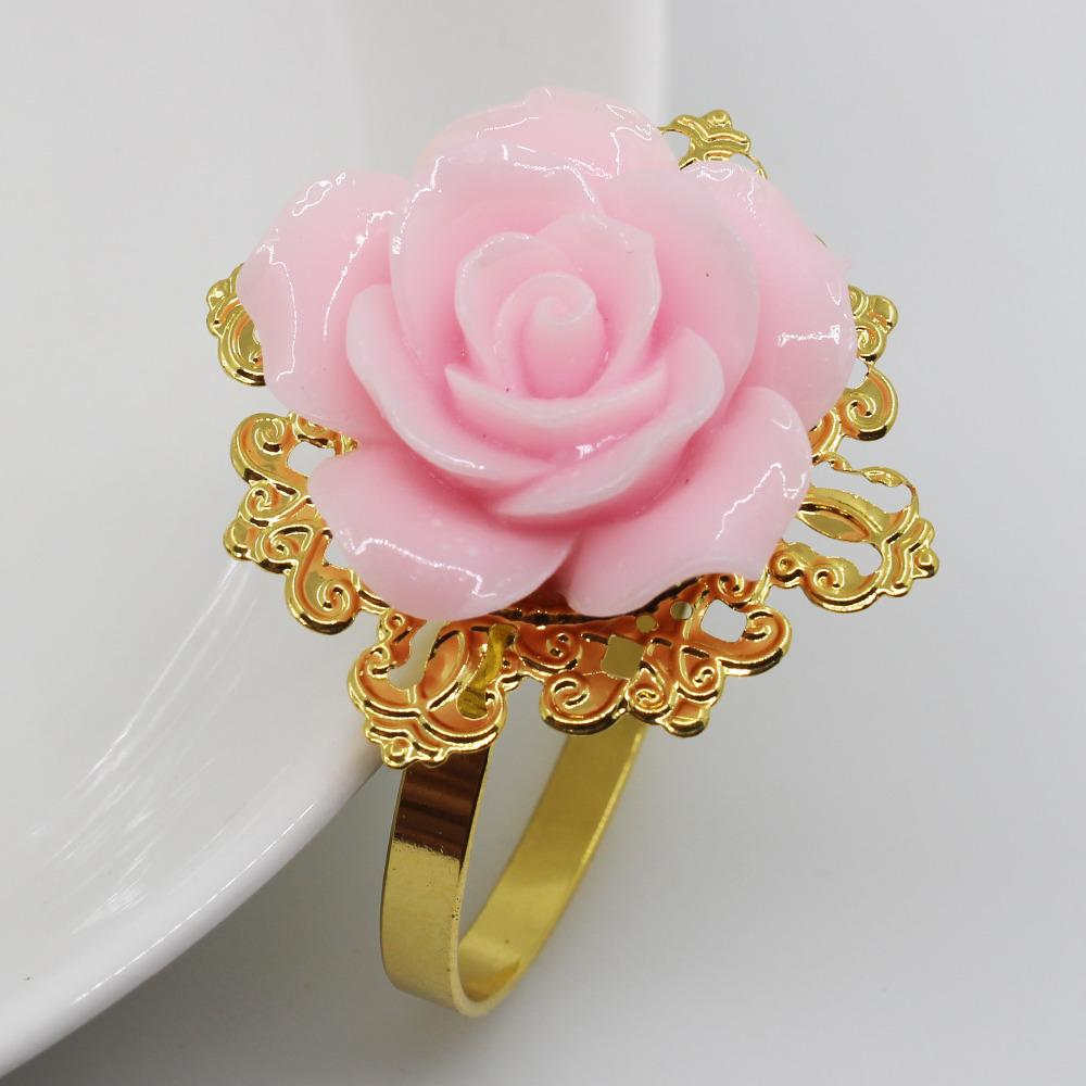 New 5pc Light pink Rose Decorative gold Napkin Rings Napkin Holder Wedding Party Dinner Table Decoration Intimate Accessories