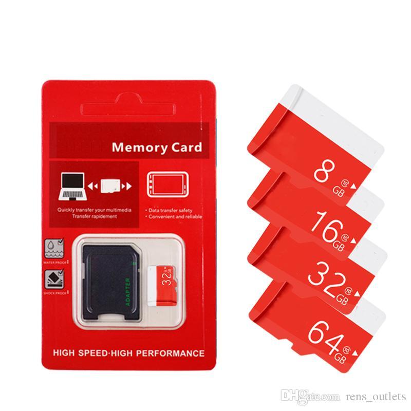 2020 Red Generic Class 10 TF флэш-С10 карты памяти 16GB 32GB 64GB для Android телефонов Камеры таблетки ПК с SD адаптер розничной упаковке