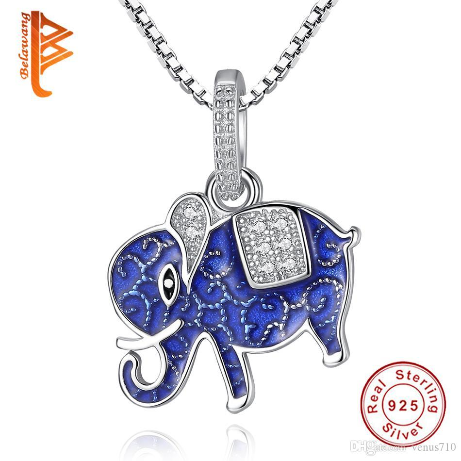BELAWANG 925 Sterling Silver Lovely Elephant Animal Pendant Necklace for Women Children Authentic 925 Silver Jewelry Gift