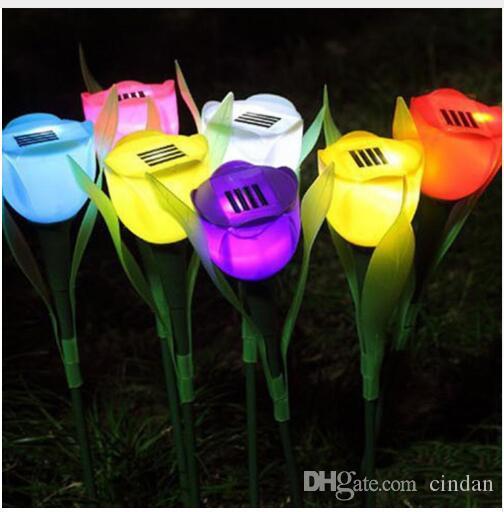 8Colors 뜨거운 판매 야외 정원 태양 LED 빛 태양 전원 LED 튤립 홈 잔디 램프 풍경 밤 꽃 램프 할로윈 램프