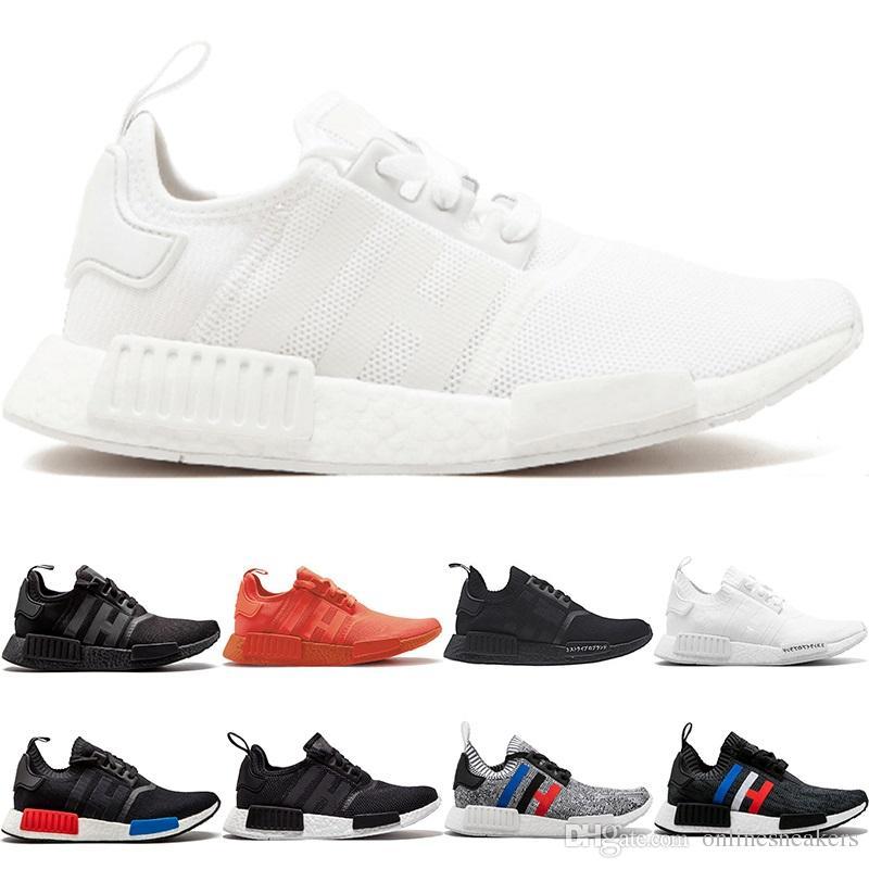 2020 Nmd R1 Primeknit Running Shoes Men Women Triple Black White