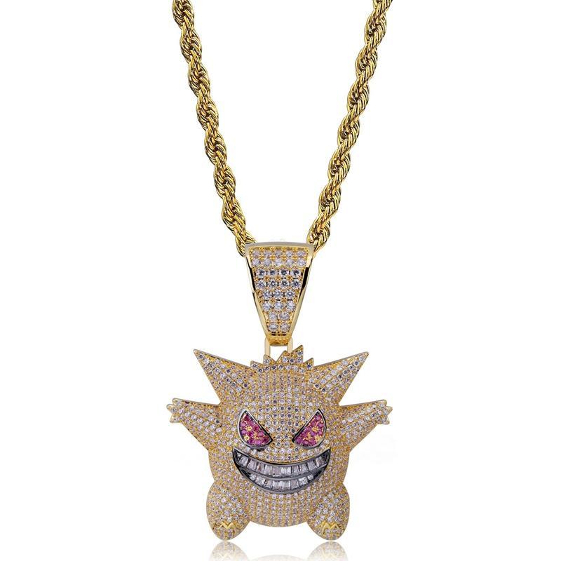 Volle Strass Gengar Anhänger-Halskette Designer Hip Hop Schmuck Bling Bling gefrieren heraus Halskette mit 24-Zoll-Kette für Männer Geschenk