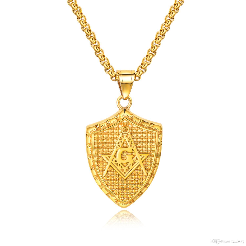 Личность мужская масонский свободный символ пирамида ожерелье кулон из нержавеющей стали для мужчин 21.6 дюймов цепи подарок для него