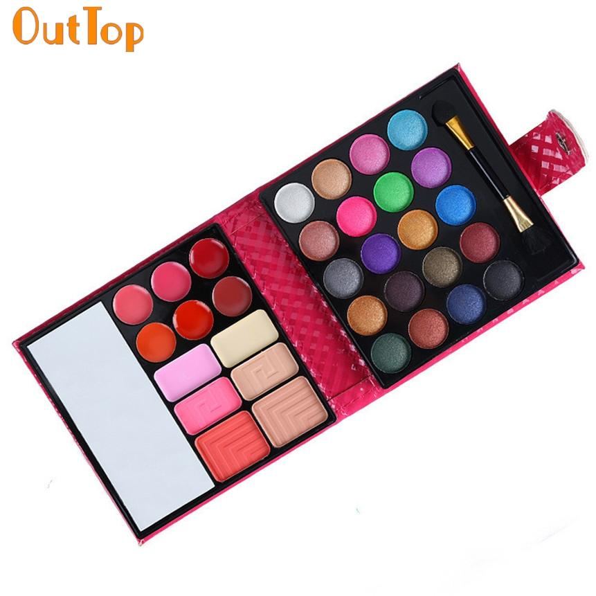 Outtop Beauty Fashion 1box 32 Color Portalbe Cosmetic Eye Shadow Makeup Palette Shimmer Set Bag With Mirror 160809 Drop Shipping