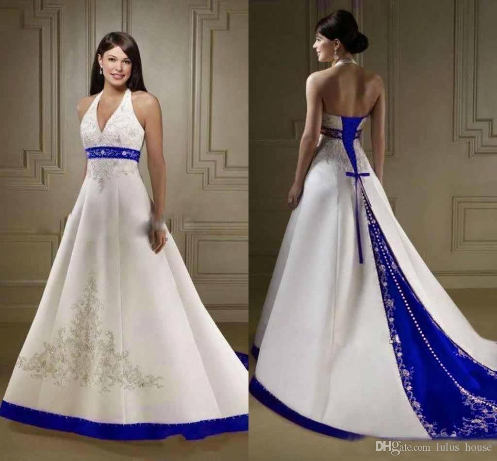Court Train White Royal Blue A Line Wedding Dresses 2018 Halter Neck Open Back Lace Up Closure Bridal Gowns Custom Made Wedding Bridal Dress