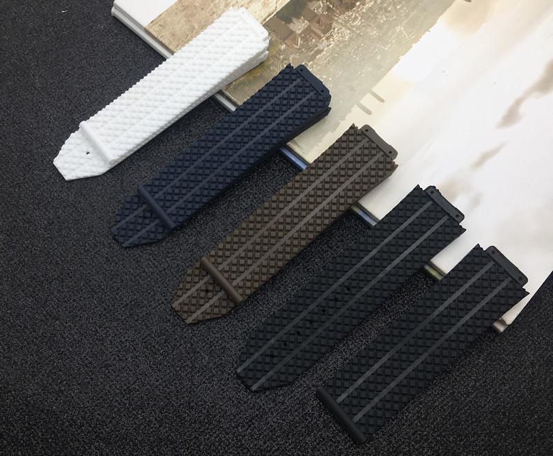 Negro Blanco Marrón azul de goma de silicona 25 * 17 mm para la correa para la banda auténtica correa de reloj con el