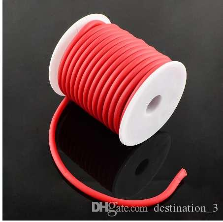 5mm hollow black silicone cord per metre.