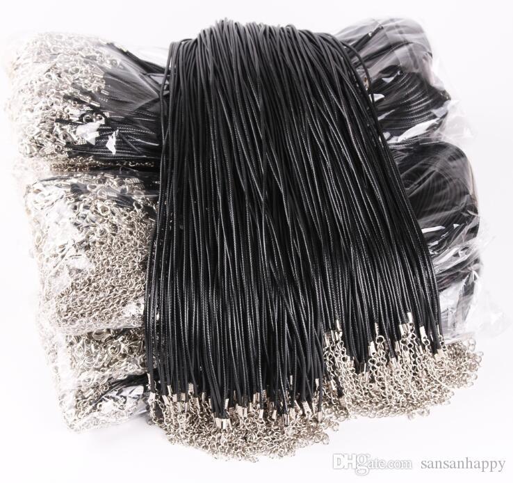 Schwarzer Leder-Schnur-Seil 1,5 mm Draht für Anhänger mit Halskette Geschenk mit Hummer-Haken Gliederkette Charme-Schmucksachen 100pcs / lot Wholesale