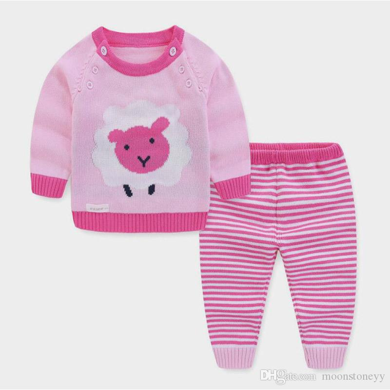 infant children girl clothes set fashion spring autumn baby clothing set 2 pcs set kids knit clothes toddler tracksuits