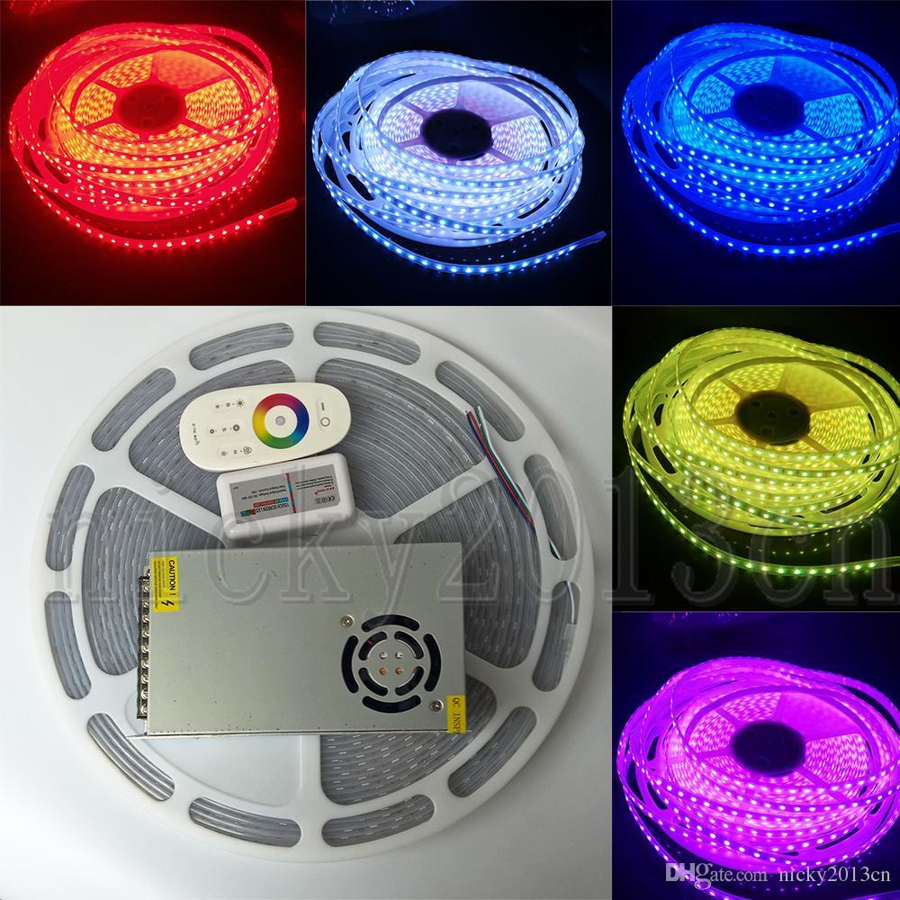 Completa Kit 20M 5050 RGB flexível LED Strip Luz 1200LEDs mudança da cor IP67 Tubo impermeável + 24V 10A Fonte de Alimentação + RF Controle Remoto