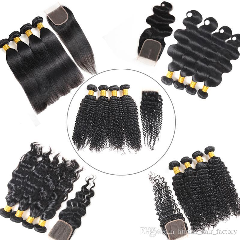 100% Unprocessed Body Wave Bundles with Frontal Brazilian Deep Water Wave human hair Bundles with Closure Weave Brazilian Virgin Hair