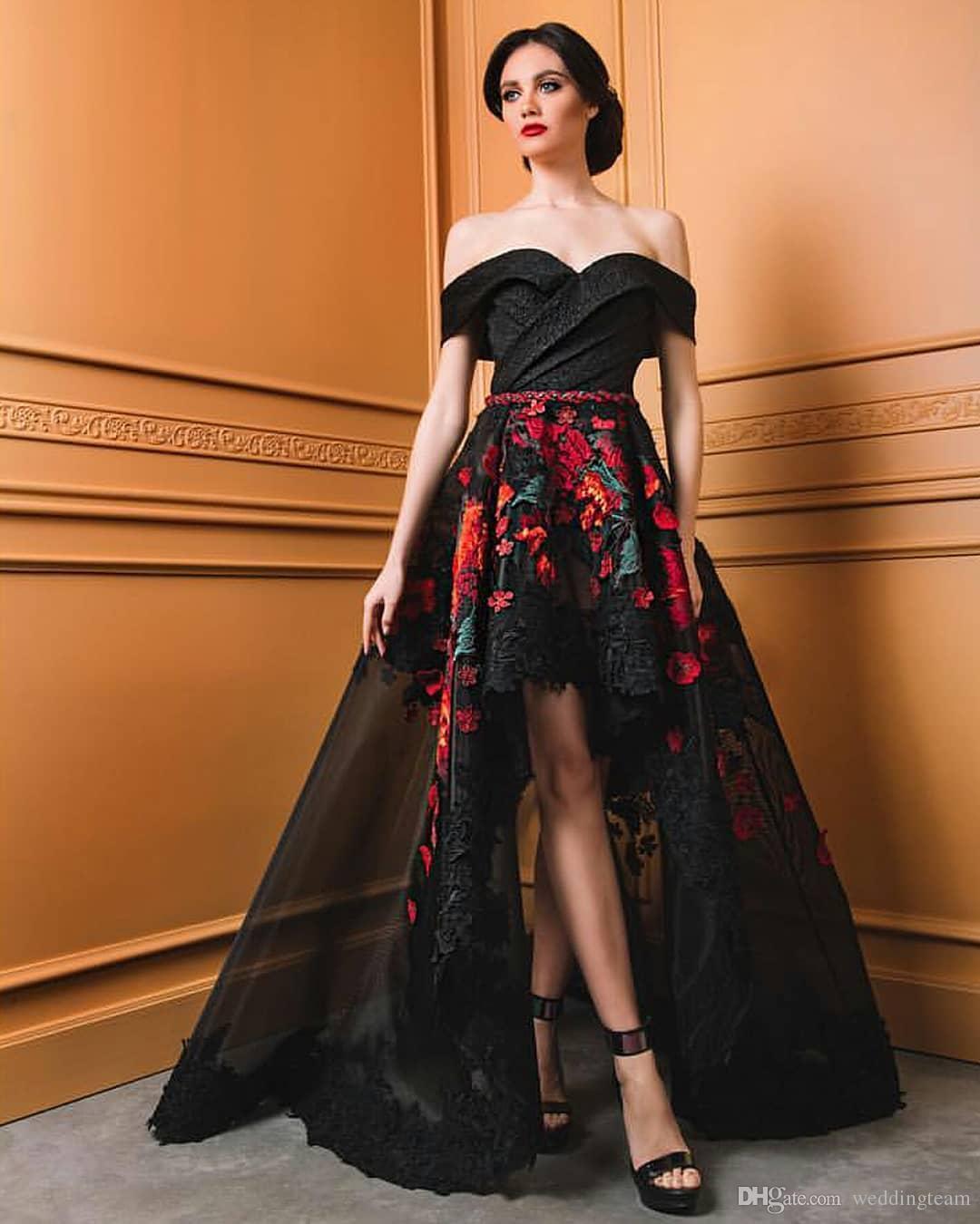 Siyah Yüksek Düşük Gelinlik Modelleri Kapalı Omuz Aplike Abiye giyim Vestidos De Fiesta A Hattı Organze Dantel Örgün Elbise