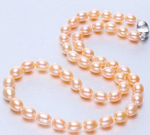Vendita calda 10-11mm naturale del mare del sud oro rosa collana di perle 18inch argento 925 catenina collane in rilievo