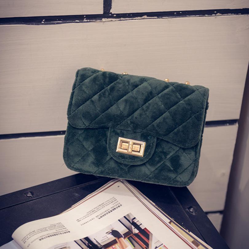 LIXUN Classic Woman Velour Shoulder Bag Female Vintage Mini Flap Messenger Bag Small Chain Quilted Handbag
