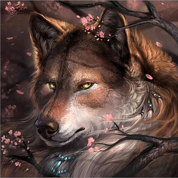 Cara de lobo de melocotón 5D DIY pintura de diamantes bordado decoración de la habitación kits de punto de cruz Imagen llena de pedrería ventas YZ100