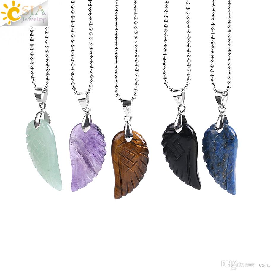 CSJA New Summer Beach Jewelry Angel Wing Pendant Natural Gemstone Butterfly Necklace Obsidian Lapis Lazuli Unisex Collier Korea Style E768 B