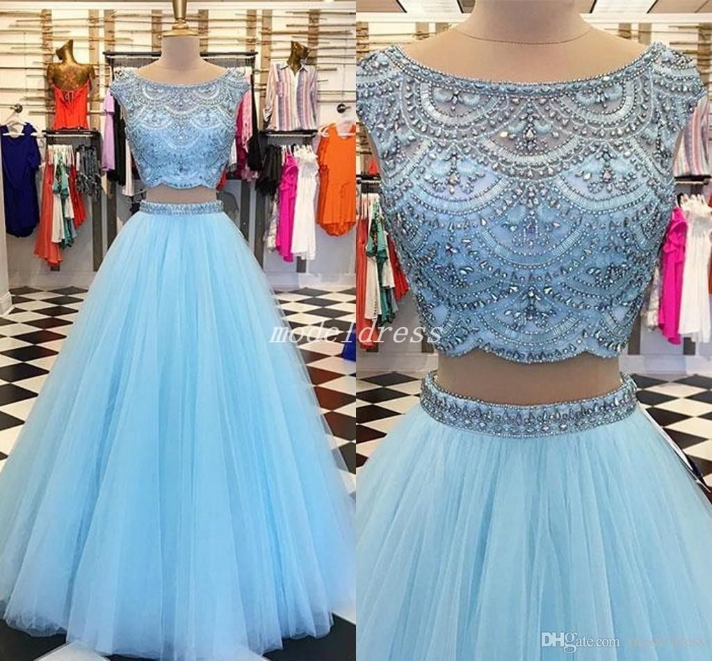 두 조각 밝은 하늘색 파란색 댄스 파티 드레스 보석에 대한 주요 구슬 층 길이 긴 파티 드레스 15 15 스타에 대한 15 아 노스 Quinceanera 드레스