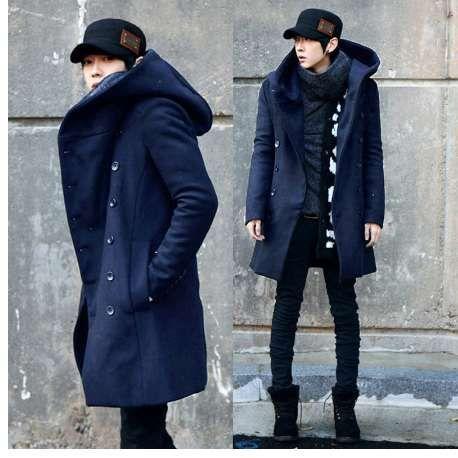 Automne Hiver Corée Style À Capuche Trench-Coat Hommes Slim Fit Double Bouton Long Trench Décontracté Noir Marine Hommes Veste Taille 3XL
