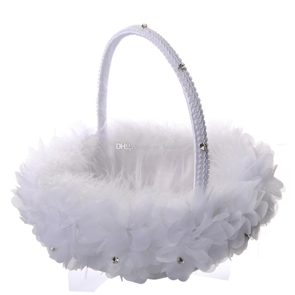 White Ostrich Feather Flower Girl Basket Elegant Round Silk Flower Basket Wedding Favors Wedding Accessory New