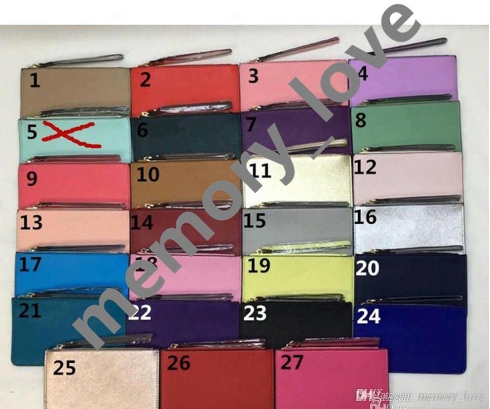 Фирменные дизайнерские кошельки 26 цветов браслета женские портмоне, клатчи пу с застежкой-молнией 2018 Рождество.