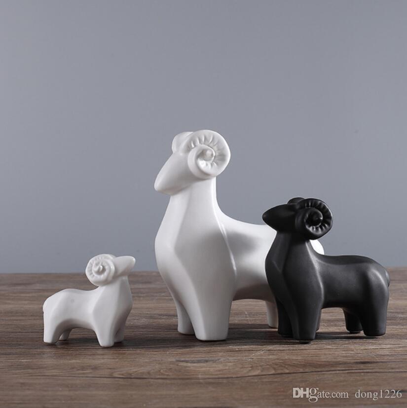 3pc blanc noir en céramique mouton décor à la maison artisanat chambre décoration chèvre artisanat porcelaine figurines d'animaux de mariage décorations