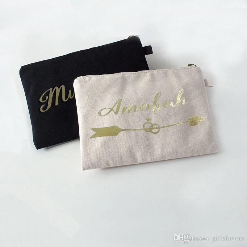 personalized Ivory Canvas cosmetic bags bridesmaid gifts makeup bag wedding favors for guests 5pcs lot free shipping wholesales