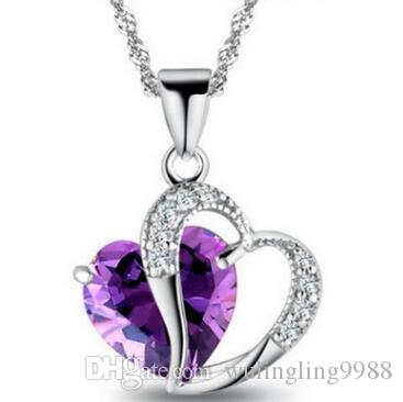 Top Heart Crystal Necklace Amethyst Pendant Necklace Fashion Class Women Girls Lady elements Jewelry Heart Necklace 925 Silver Necklaces