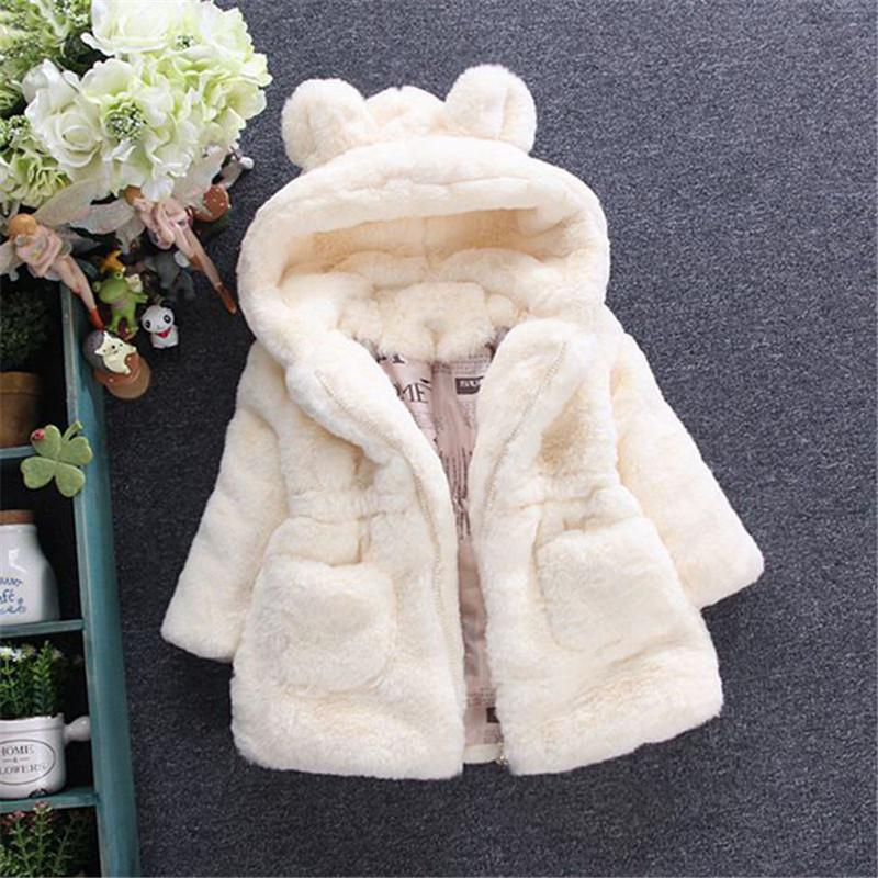 2018 Nouveaux hiver Filles Vêtements de bébé en fausse fourrure Toison manteau Pageant chaud Veste de Noël Habineige 2-7Y bébé capuche survêtement