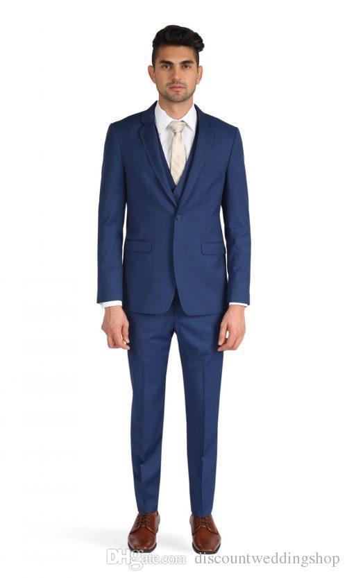 High Quality Groom Tuxedos One Button Blue Notch Lapel Groomsmen Best Man Suit Wedding Mens Suits (Jacket+Pants+Vest+Tie) J158