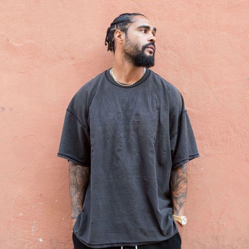 FOG Lavados frouxo camisetas por Homens High Street Blackgray do vintage Moda Sólidos T-shirts