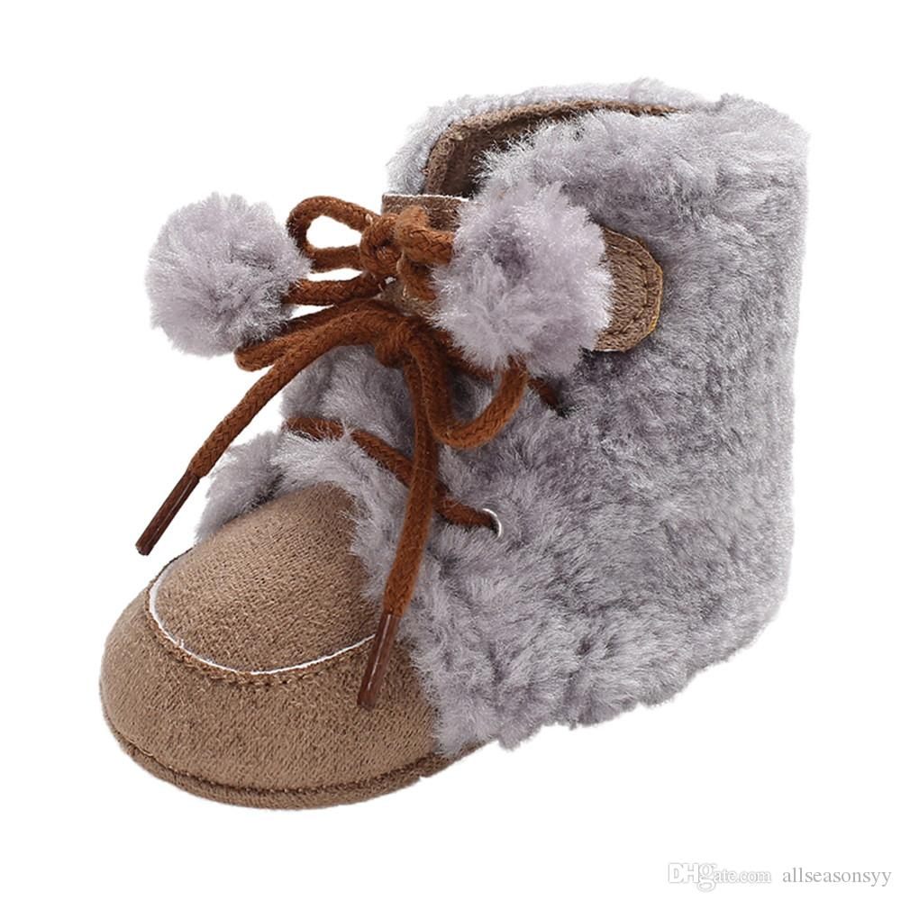 New Fashion Baby Autumn And Winter Boys Girls Hair Ball Tie Solid Color Boots Toddler Shoes