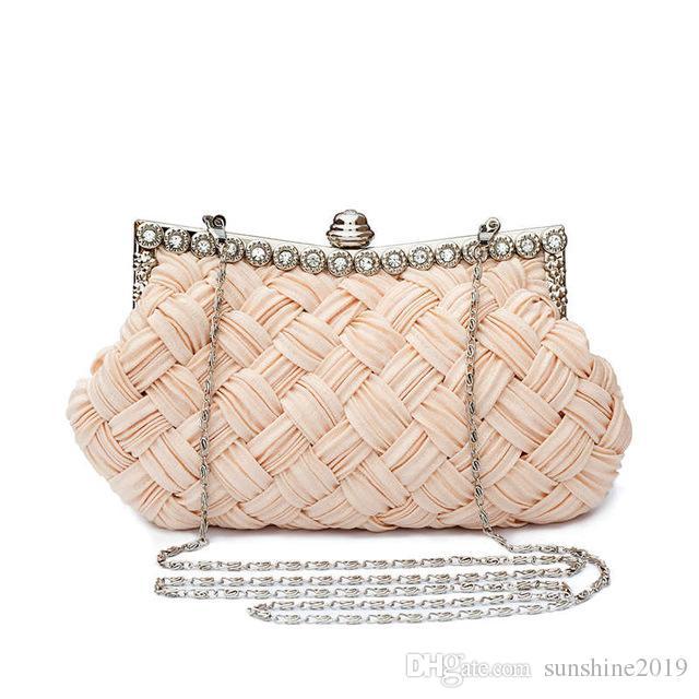 Evening Weaved Satin Party Evening Bag one shoulder hand bride bridesmaid wedding dress bag black