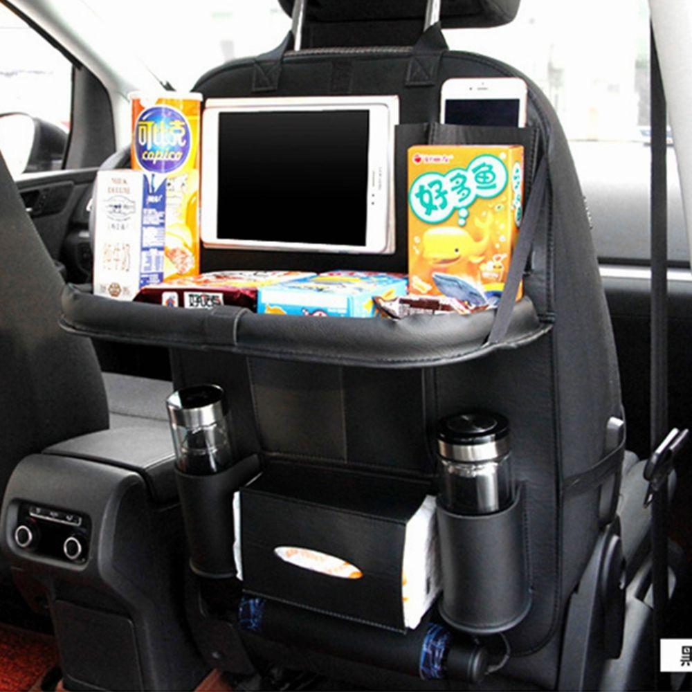 gros artificielle en cuir PU voiture Back Seat Organisateur voiture pliable Organisateur sac de rangement Table automatique Accessoires coffre Arrimage Tidy