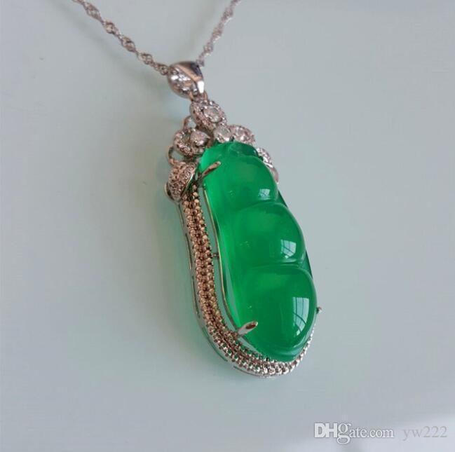 халцедон кулон 925 серебряная мозаика хризопраз нефрит ожерелье кулон ювелирные изделия для женщины