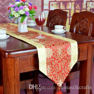 226 cm Lange chinesischer Knoten Seide Tischläufer Satin Stoff Dekorative Table Mat Tischset Damast-Tischdecke rechteckig Kaffeepads