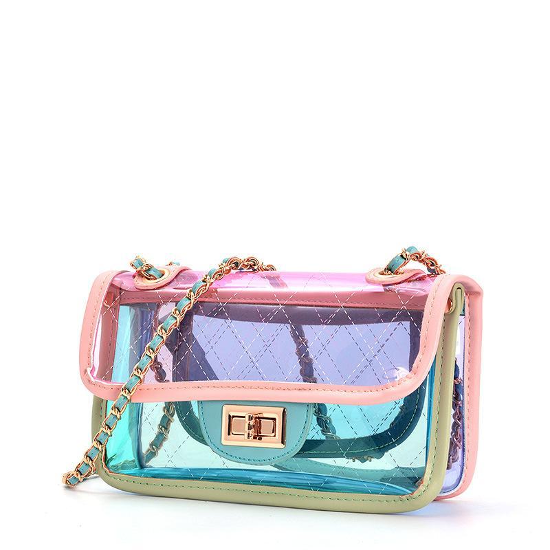여자 투명한 가방 취소 PVC 메신저 해변 어깨 가방 젤리 작은 토트 레이저 홀로그램 핸드백 여자 Bandoulier