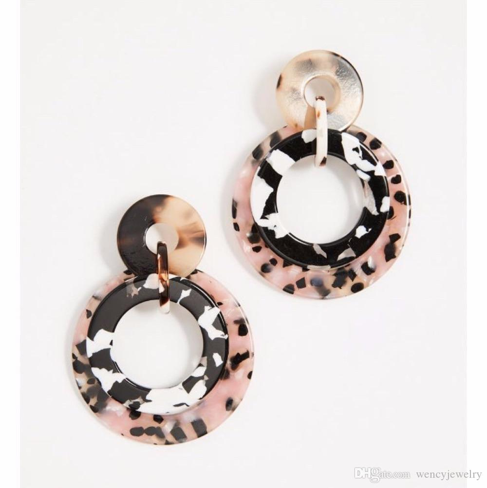 Free Shipping New Sweet Round Tortoise Cute Elegant Stud Earring, Hot Popular Fashion Trendy Wholesale Lightweight Resin Stud Earring
